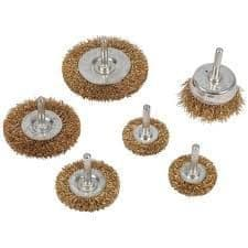 Silverline Brassed Steel Wire Wheel & Cup Brush Set 6pce