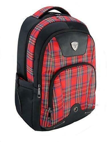 3 Zip Pockets Red Tartan Weather Proof Rucksack Design New