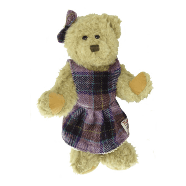 35cm Girl Teddy Bear with Harris Tweed Clothing in  Pink Lilac Check GP2973-COL34