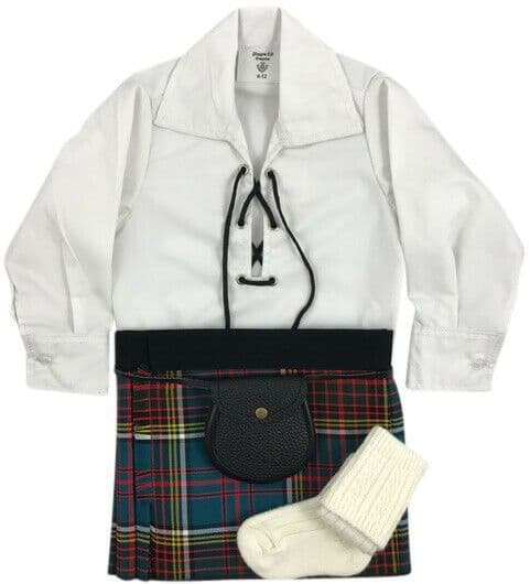 Babies Traditional Kilt Outfits Scottish Tartan Anderson with Special Ghillie Shirt