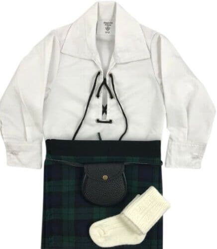 Babies Traditional Kilt Outfits Scottish Tartan Black Watch with Special Ghillie Shirt