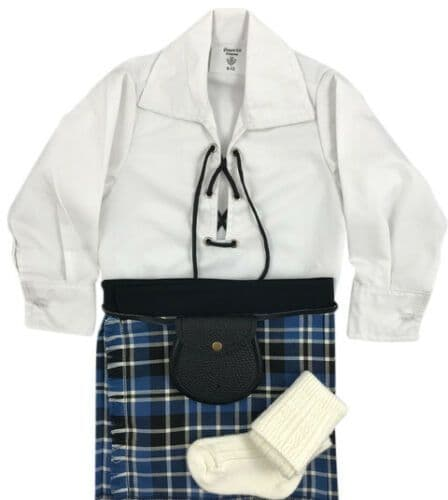 Babies Traditional Kilt Outfits Scottish Tartan Clark Ancient with Special Ghillie Shirt