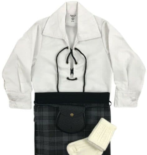 Babies Traditional Kilt Outfits Scottish Tartan Grey Granite with Special Ghillie Shirt
