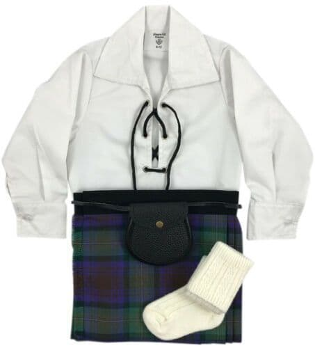 Babies Traditional Kilt Outfits Scottish Tartan Isle of Skye with Special Ghillie Shirt