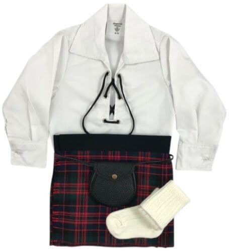Babies Traditional Kilt Outfits Scottish Tartan Macdonald with Special Ghillie Shirt