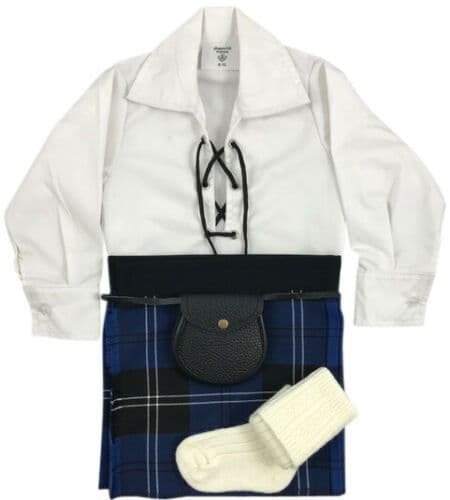 Babies Traditional Kilt Outfits Scottish Tartan Ramsay Blue with Special Ghillie Shirt