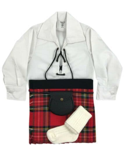 Babies Traditional Kilt Outfits Scottish Tartan Royal Stewart with Special Ghillie Shirt