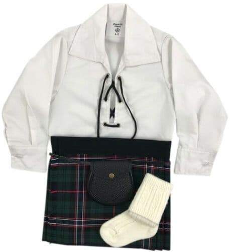 Babies Traditional Kilt Outfits Scottish Tartan Scottish National with Special Ghillie Shirt