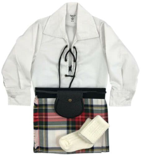 Babies Traditional Kilt Outfits Scottish Tartan Stewart Dress with Special Ghillie Shirt