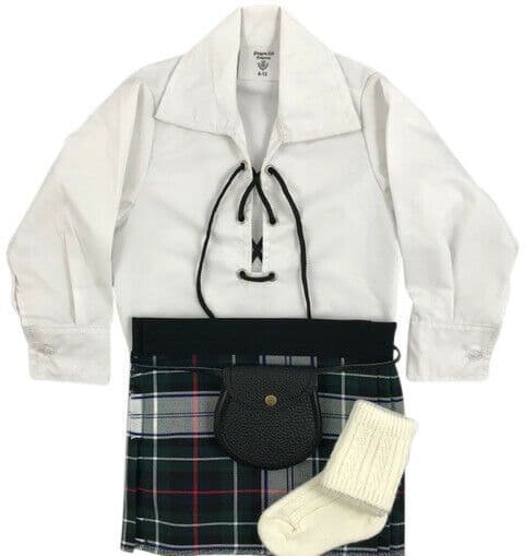 Babies Traditional Kilts Outfits Scottish Tartan MacKenzie Dress With Free Soft Ghillie Brogues