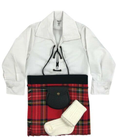 Babies Traditional Kilts Outfits Scottish Tartan Royal Stewart With Free Soft Ghillie Brogues