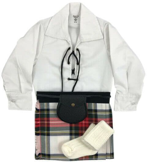 Babies Traditional Kilts Outfits Scottish Tartan Stewart Dress With Free Soft Ghillie Brogues
