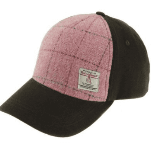 Baseball Cap with Harris Tweed in Bright Pink with Overcheck BC1000-COL68
