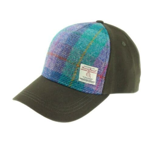 Baseball Cap with Harris Tweed in  Green & Purple Check  BC1000-COL79