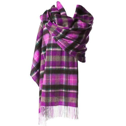 EDINBURGH LAMBSWOOL STOLE BRUCE/PURPLE GREY