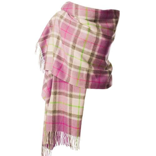 EDINBURGH LAMBSWOOL STOLE LIGHT PURPLE CHECK