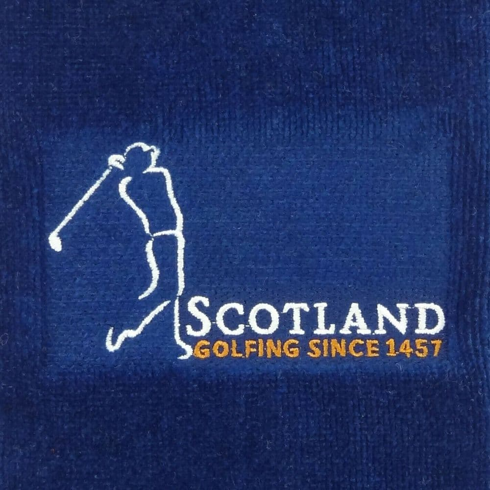 Embroidered 'Golfing since 1457' Golf Towel in Blue  GT1041-BLUE