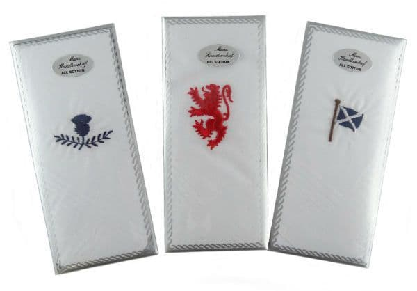 Gents Assorted Handkerchiefs with Embroidered Thistle, Lion or Saltire HC5088