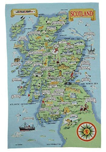 Glen Appin Cotton Map Of Scotland Tea Towel Brand New