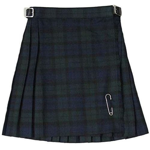 Glen Appin Girls Pleated Tartan Kilt Black Watch