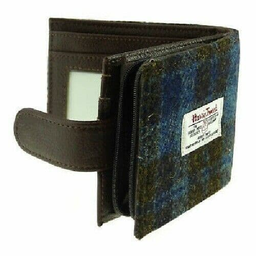 Harris Tweed 'Barra' Wallet with Coin Section in Grey Check LB2105-COL11