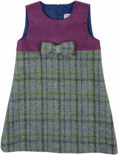 Harris Tweed & Cord Pinafore Dress in Lilac Check TG0616-COL19
