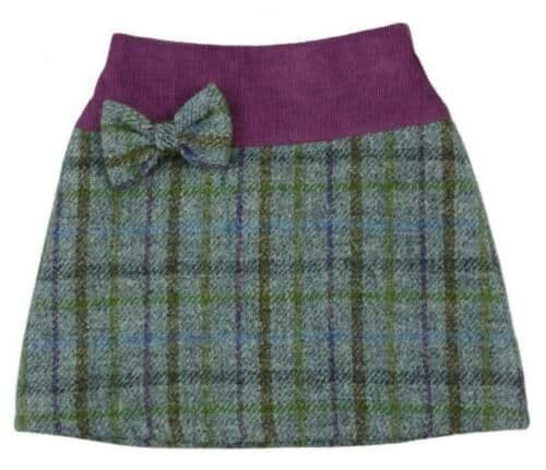 Harris Tweed & Cord Skirt in Lilac Check  TG0617-COL19
