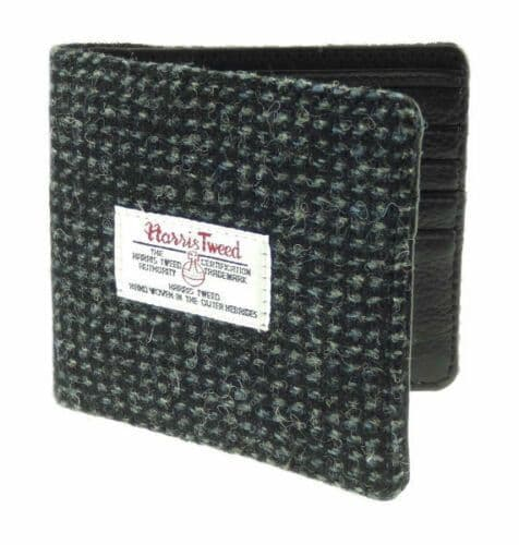 Harris Tweed & Leather 'Douglas' Gents Wallet in Black and White Fleck LB2507-COL41