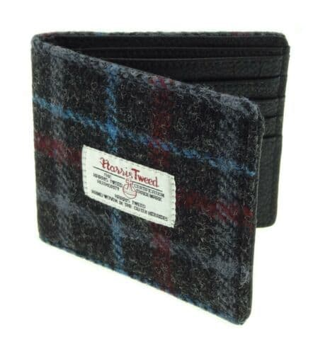 Harris Tweed & Leather 'Douglas' Gents Wallet in Charcoal Check/Blue Line LB2507-COL48