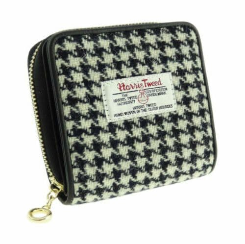 Harris Tweed & Leather 'Linda' Small Purse in  Black Dogtooth LB2501-COL29