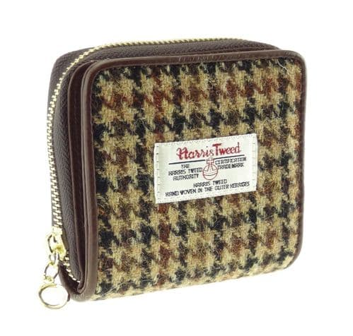 Harris Tweed & Leather 'Linda' Small Purse in Brown Dogtooth LB2501-COL27