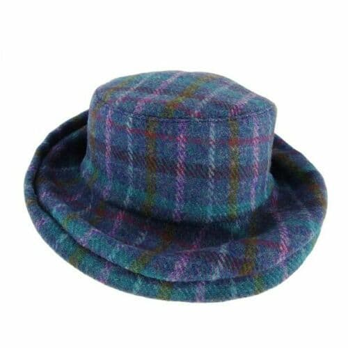 Ladies One Size Harris Tweed Cloche Hat in Purple Multi Check GH0370-COL51