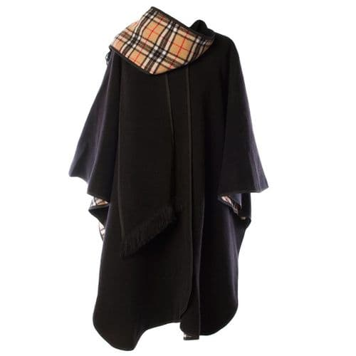LADIES WOOL BLEND REVERSIBLE CAPE BLACK  HERITAGE OF SCOTLAND