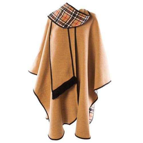 LADIES WOOL BLEND REVERSIBLE CAPE CAMEL  HERITAGE OF SCOTLAND