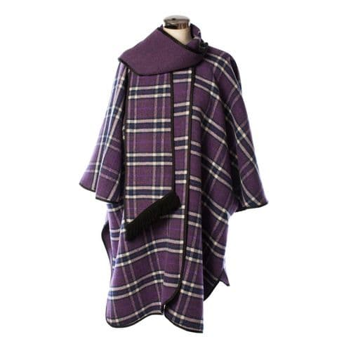 LADIES WOOL BLEND REVERSIBLE CAPE PURPLE  HERITAGE OF SCOTLAND