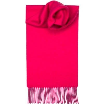 Lochcarron Clan Scarf Bright Pink Plain Coloured 100% Lambswool