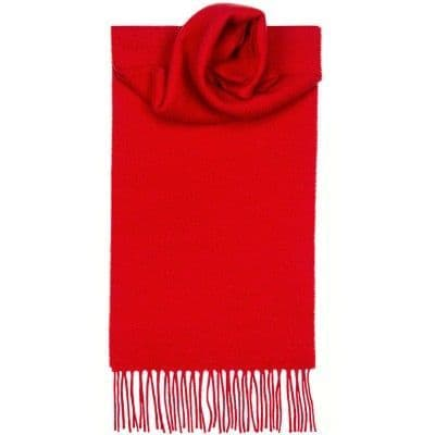 Lochcarron Clan Scarf Red Plain Coloured 100% Lambswool