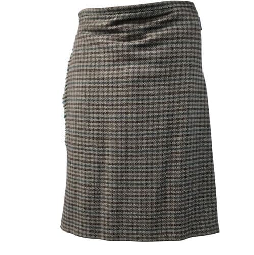 Mens 100% Wool Tweed Checked Brown 5 Yard Kilt Made in Scotland