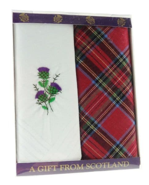 Pack of 2 Handkerchiefs with 1 Tartan and 1 Embroidered Thistle HC5092