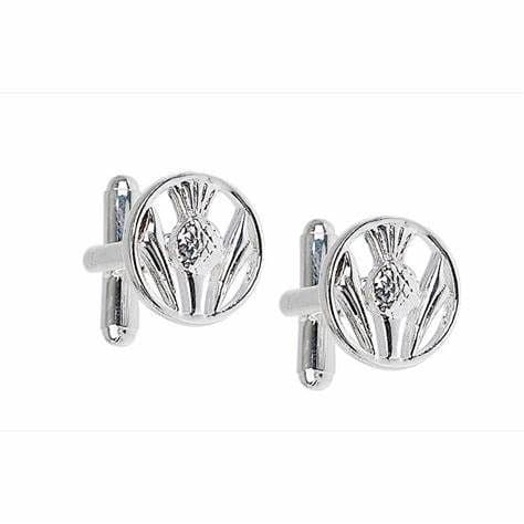 Pierced Thistle Silver Plated Cufflinks KCL42P