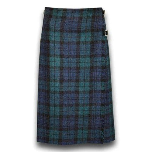 Tartan Ladies Long Kilt In Black Watch