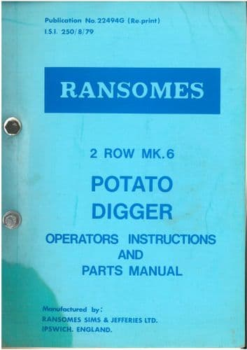 Ransomes 2 Row MK6 Potato Digger Operators Manual with Part List
