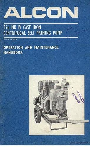 Alcon Self Priming 3in Mk IV Cast Iron Centrifugal Pump Operators Manual with Parts List