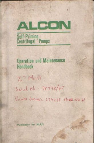 Alcon Self Priming Centrifugal Pump Operators Manual with Parts List