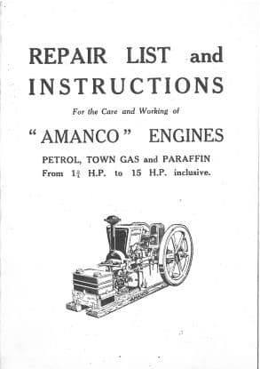 Amanco Petrol, Town Gas & Paraffin Engine From 1.75 H.P. to 15 H.P. Operators Manual with Parts List
