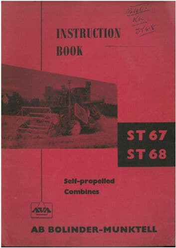 AVA AB Bolinder-Munktell Combine ST67 & ST68 Operators Manual