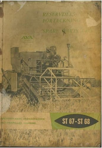 AVA AB Bolinder-Munktell Combine ST67 & ST68 Parts Manual