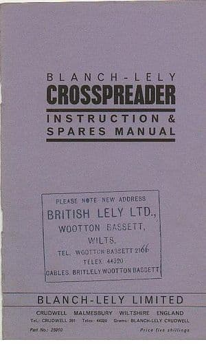 Blanch Lely Crosspreader Fertilizer Spreader Operators Manual with Parts List