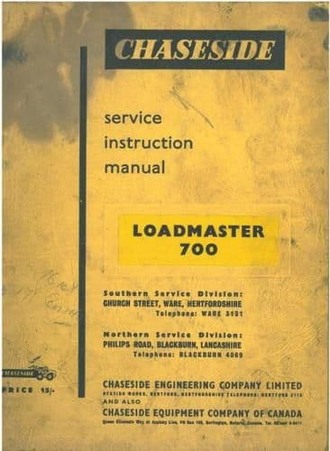 Chaseside Loadmaster Shovel 700 Operators Manual
