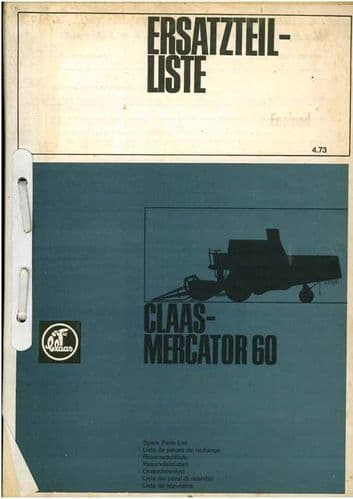 Claas Combine Mercator 60 Parts Manual - Blue Cover